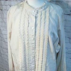 Coldwater Creek Size 2X silk embroidered blouse